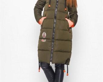 Winter jacket women Jackets for women Winter jacket Winter jacket coat women Jacket with a hood Down jacket khaki Down jacket women Quilted