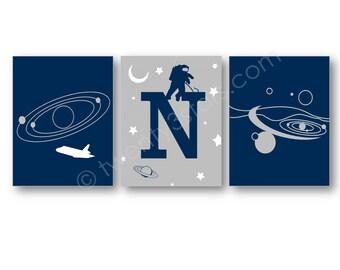Astronaut Monogram Art Prints, Space Wall Art, NASA Wall Art, Astronaut Nursery Art, Astronaut Canvas Art, Astronomy Wall Art Posters