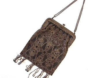Vintage Beaded Purse. Gray, Black, Silver, Bronze. Steel Cut. Art Nouveau. Art Deco. Evening Bag. Metal Frame & Chain. Downton Abbey