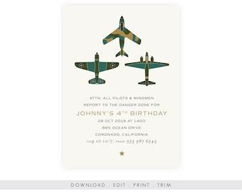 Jets Birthday Invitation with Photo | Printable Military Birthday Invitation, Instant Download, Digital Download, Airplane Birthday, Top Gun