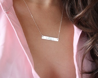 initial Bar necklace - sterling silver personalized necklace, monogram engraved necklace name plate tag, thin bar necklace, Christmas gift