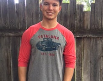 Petaluma Truck Baseball Tee- Red with Heather Grey- Luma Vintage- Free Shipping