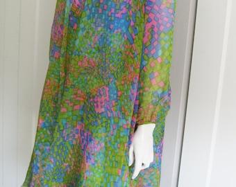 Vintage 60's Silk 2 Piece Sleeveless Shift Dress &  Matching Sheer Coat // Royal Lynne  Hong Kong Sz 12