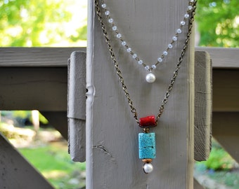 """LAYERED NECKLACE Turquoise Coral Pearl Long 36"""" Double Layer Necklace with Crystal Rosary Chain"""
