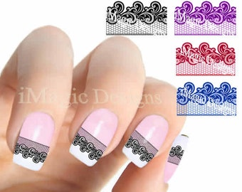 Nail Stickers, Elegant Water Slide Nail Decals, Lace