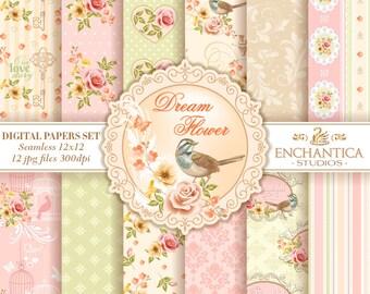 Digital Paper Floral, Floral Digital Papers, Shabby Chic Digital Paper, Pink Digital Paper, Digital Paper Vintage, Pink Roses Digital Paper