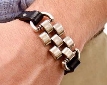 Men's leather Bracelet Unisex Bracelet With Magnetic Clasp in Large and Extra Large sizes Cuff Bracelet Statement Jewelry