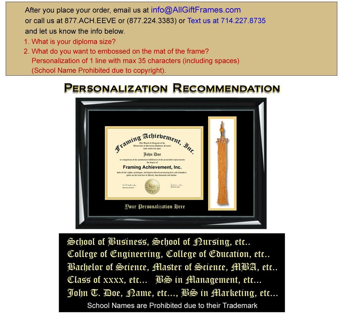 Tassel College Frames University Diploma Frame Top mat Black Inner ...