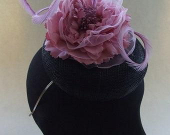 Black sinamay fascinator with pink peony flower.