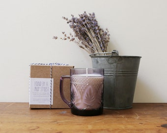 Vintage amethyst pressed glass mug candle // lavender scented soy candle // vintage mug // purple candle // soy candle