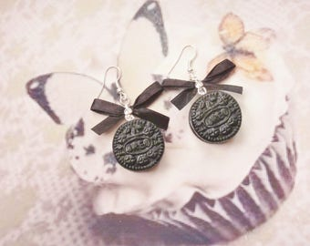 earrings biscuit oreo polymer clay