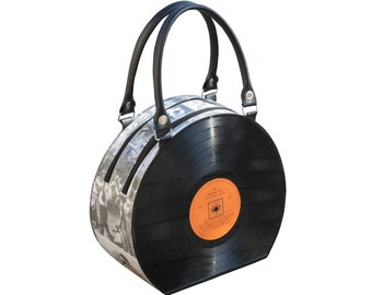 retro vinyl record handbag bag - music gift for musician - nostalgic vintage gifts for women - upcycled bag - eco friendly gifts for her