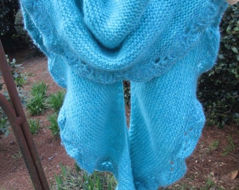 Turquoise Cashmere Shawlette/Scarf with Pin