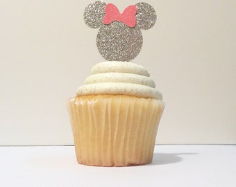 12 silver Minnie Mouse cupcake toppers-pink and gold- Minnie Mouse toppers- smash cake-photo prop-baking supplies- 12 cupcake toppers-Minnie