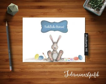 Modern postcard Happy Easter-Wallpaper pc-deco for children's room-and photo album-White, Brown-Instant download