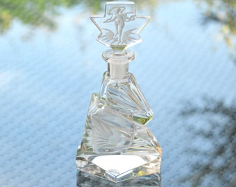 Art Deco Clear Crystal Perfume Bottle - Irregular Angular Faceted Stepped Shaped with Intaglio Etched Flowers and Figure in The Stopper