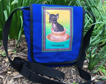 Pup in a Cup Canvas Day Bag,  Canvas Courier Bag, Messenger Bag, Chihuahua Bag