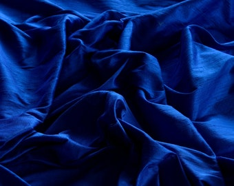 "Royal Blue Dupioni Silk, 100% Silk Fabric, 44"" Wide or 54"" Wide, By The Yard (S-114)"