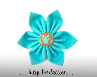 Aqua Dog Collar Flower; Teal and Orange Dog Flower: Tulip Medallion