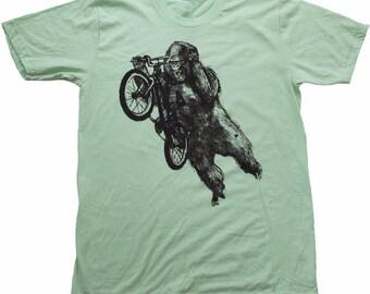 Gorilla on a BMX bike - Mens T Shirt, Unisex Tee, Cotton Tee, Handmade graphic tee, Bicycle shirt, Bike Tee, sizes xs-xxl