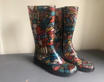 Vintage Donald Pliner Rubber Boots Size 8 Women's