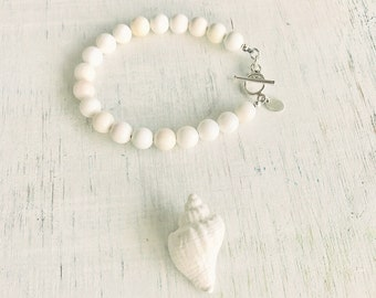 Conch Shell Bracelet - Purity & Clarity, Sterling Silver or 14kt Gold-fill - A ZEN by Karen Moore Signature Collection