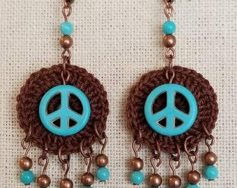 Crochet earrings/ peace sign earrings/ turquoise earrings/ dangle earrings/ copper earrings/ peace sign/ hippie earrings/ boho jewelry