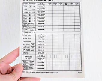 Vintage Yahtzee Score Card Sheets / 10 Sheets / Daily Planner / Junk Journal
