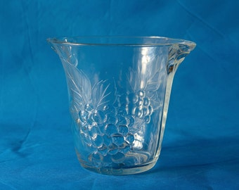 Vintage French Pressed Glass Ice Bucket with Decor of Grapes