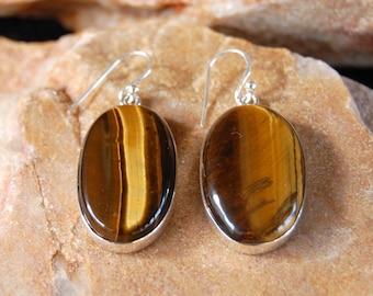 Handmade Natural Tigers Eye Earrings - Sterling silver Earrings - Natural Tigers Eye Gemstone Earrings
