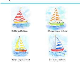 Nautical Nursery Decor Prints Set of 4 Sailboats Sailboat Nursery Nautical Nursery Art Nautical Theme Baby Boy Nursery Wall Art