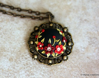 Gorgeous Polymer Clay Applique Statement Pendant Necklace and Earrings Set