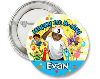 Custom Birthday Photo Pinback Button-3.5 inches- Any Character or theme-4