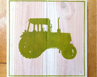 Tractor Silhouette Wooden Sign