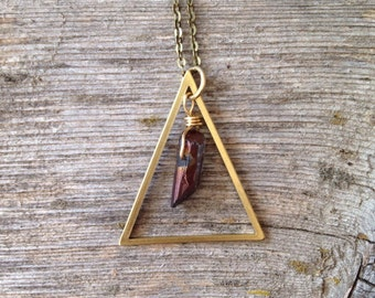 Triangle necklace, gemstone necklace, brass necklace, quartz crystal