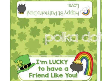 St Patrick's Day LUCKY FRIEND Treat Bag Toppers 2 x 4 DIY Party Favor Bags Instant Download