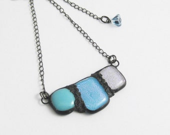 Urban Artifact Mini | Eclectic Fused Glass | Boho Jewelry | Stained Glass Pendant