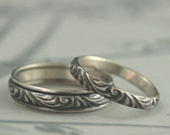 Silver Wedding Set Wedding Band Set Wedding Ring Set Silver Wedding Rings Silver Wedding Bands His and Hers Bands His and Hers Ring Set