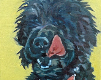 Black Dog Portrait Painting