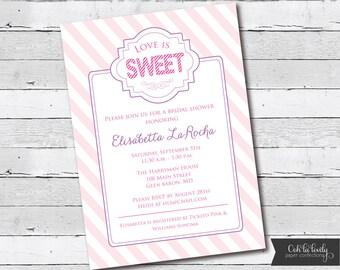 Bridal Shower Invitation, Bridal Shower Invite, Love is Sweet, printable, DIY