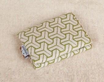 geometric green wallet, canvas wallet, vegan wallet, small wallet, slim wallet, cool wallets, thin wallet, cute wallets by Badimyon