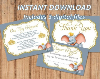 INSTANT DOWNLOAD - Dumbo Add-Ons Thank You | Diaper Raffle | Bring a Book