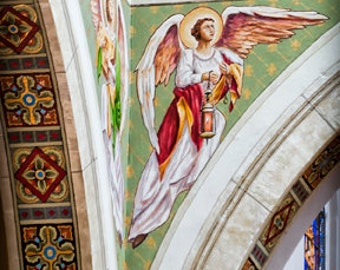 Santa Fe Guardian -  Folk Art - Fine art photography - Fresco, Sacred Mural, Artifact - stone, pattern  - sage, merlot, pink, white