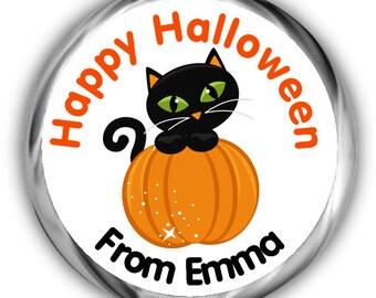 Cat Halloween Stickers ~ Kids Halloween Stickers ~ Personalized Halloween Treat Sticker Tags