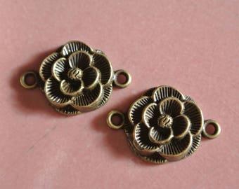 Four flowers antique bronze, 18 x 26 mm connectors