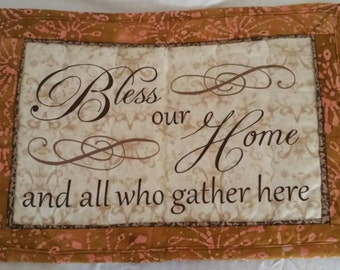 Bless This Home and All Who Gather Here fabric wall hanging/home decor