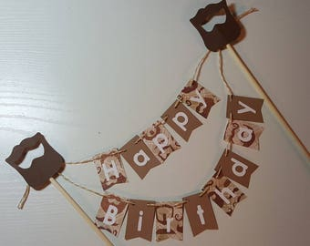 "Cake Bunting, ""Beard "", Happy Birthday, Cake Topper, Paper banner"
