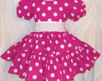 Hot Pink and White Polka Dot Twirly Square Dance Dress with puff sleeves and waist sash Many colors available! Baby Infant Toddler Girls