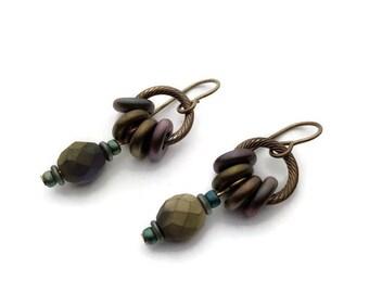 Textured Brass and Czech Glass Bead Earrings, Czech Glass Bead Brass Earrings, Niobium Ear Wires, Glass Donut Bteads,