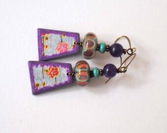 Purple Polymer Earrings, Floral Earrings, Lampwork Earrings, Unique Artisan Earrings, Asian Inspired Jewelry, Glass Bead Earrings
